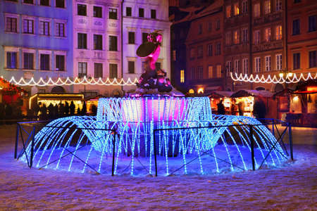 Holiday decorations of Warsaw. Old market square. Poland