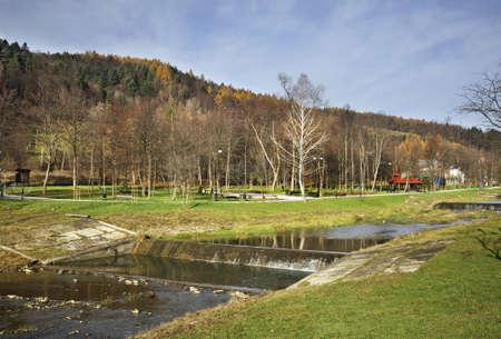 Szczawnik river in Muszyna. Voivodeship Lesser Poland. Poland