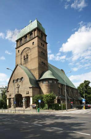 Church of Sacred Heart of Jesus (Herz-Jesu-Kirche) in Szczecin. Poland Stock Photo