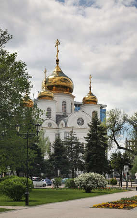 Alexander Nevsky Cathedral and Catherine Square in Krasnodar. Russia Stock Photo