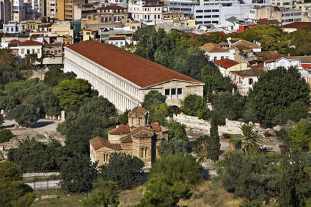 Stoa of Attalos and Church of Sts. Apostoli in Athens. Greece Stock fotó
