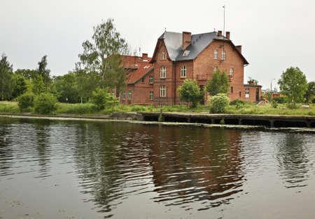 Elblag canal in Elblag. Warmian-Masurian voivodeship. Poland 版權商用圖片