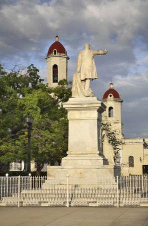 Statue of Jose Marti and cathedral. Cienfuegos. Cuba