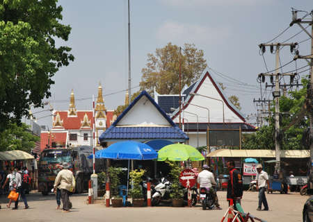 Border crossing between Thailand and Cambodia in Poipet. Cambodia