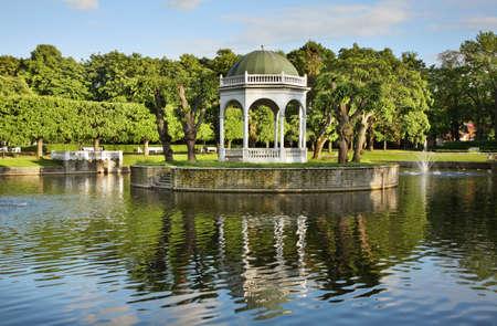 Swan Pond in Kadriorg Palace. Tallinn. Estonia
