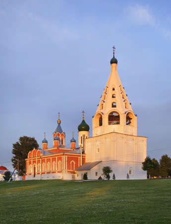 Church of Icon of Mother of God of Tikhvin and cathedral bell tower in Kolomna Kremlin. Russia