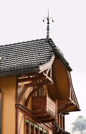 Fragment of wooden house in Engelberg. Switzerland