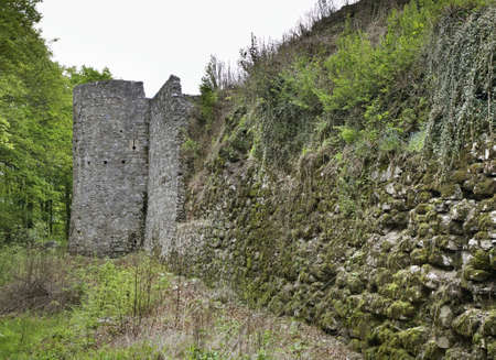 Ruins of castle on Kozlov Rob above Tolmin. Slovenia