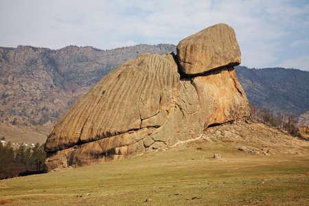 Turtle rock in Gorkhi-Terelj National Park. Mongolia Standard-Bild