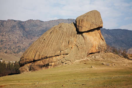 Turtle rock in Gorkhi-Terelj National Park. Mongolia Standard-Bild