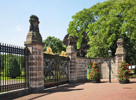 Gate to Peace Palace at Hague (Den Haag). South Holland. Netherlands