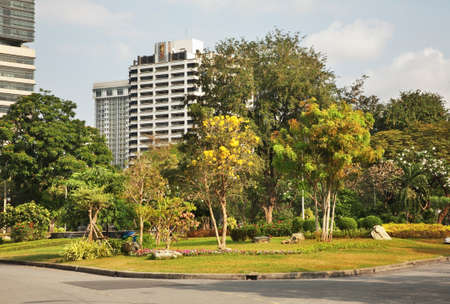 Lumphini Park at Bang Rak district of Bangkok. Kingdom of Thailand Editorial