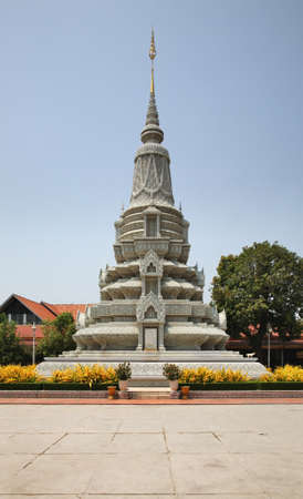 His Majesty King Ang Duong stupa at Royal Palace (Preah Barum Reachea Veang Nei Preah Reacheanachak Kampuchea) in Phnom Penh. Cambodia Editorial
