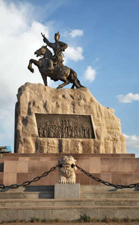 Monument to Damdin Sukhbaatar on Grand Chinggis Khaan square in Ulaanbaatar. Mongolia Editorial