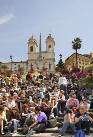 Spanish steps on Piazza di Spagna (Spanish square) in Rome. Italy