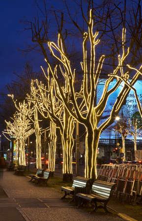 Holiday decorations of Unter den Linden street in Berlin. Germany