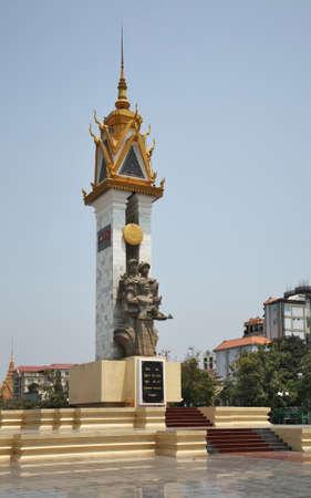 Cambodia-Vietnam Friendship monument at Wat Botum park in Phnom Penh. Cambodia Editorial
