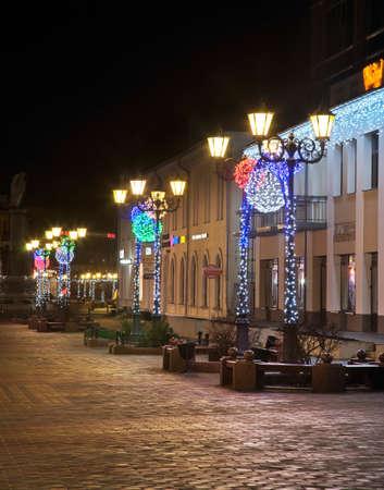Holiday decorations of Sovetskaya street Brest. Belarus