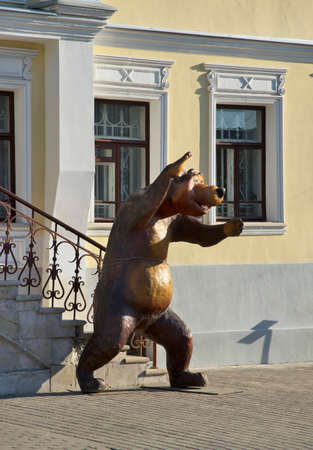 Sculpture of bear at Moscow street in Murom. Russia
