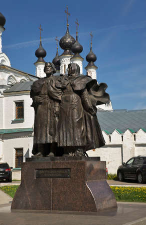 Peter and Febronia front of Annunciation monastery in Murom. Russia