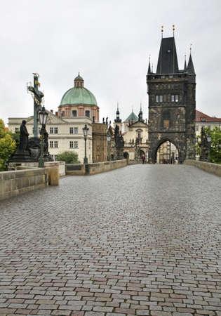 View of Charles Bridge in Prague. Czech Republic