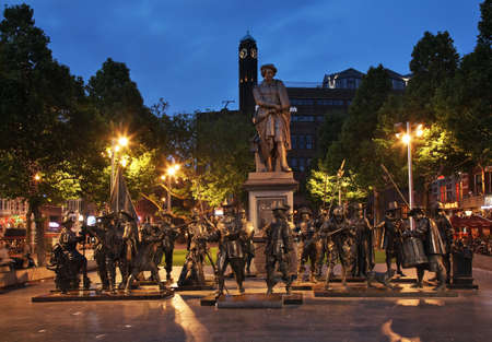 Monument to Rembrandt and sculptures of Night Watch at Rembrandt square in Amsterdam. Netherlands Editorial