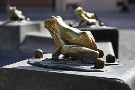 Frog at Raftsman Fountain (Pomnik flisaka) in Torun.  Poland