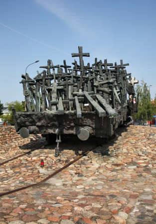 Monument to Fallen and Murdered in East at Square of Mother of Sibir (Skwer Matki Sybiraczki) in Warsaw. Poland
