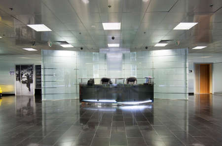 View of interiors of modern office building Редакционное
