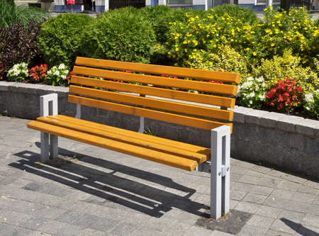 Bench at Market square in Puck. Poland
