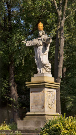 Monument to king of universe Jesus Christ near Augustinian monastery in Zagan. Poland