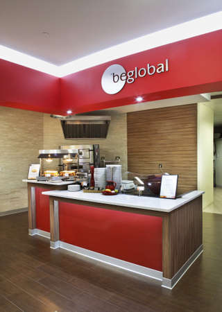 Fast food cafe Sodexo at Presnenskaya embankment 10. Moscow. Russia Editorial
