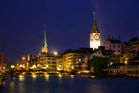 Embankment of Limmat river in Zurich. Switzerland