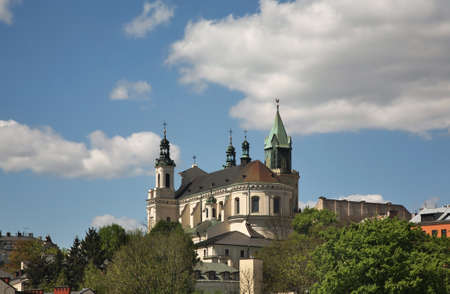 Cathedral of St. John the Baptist and Trinity (Trynitarska) tower in Lublin. Poland 免版税图像