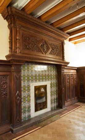 Fireplace at palace of emperor Alexander III in Massandra. Crimea. Ukraine
