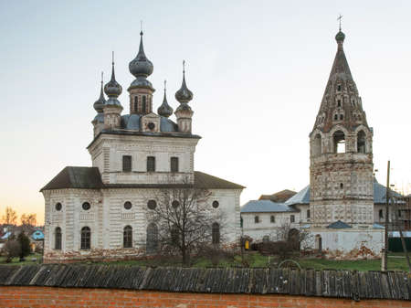 Cathedral of Michael Archangel and bell tower at monastery of Michael Archangel in Yuryev-Polsky. Vladimir oblast. Russia