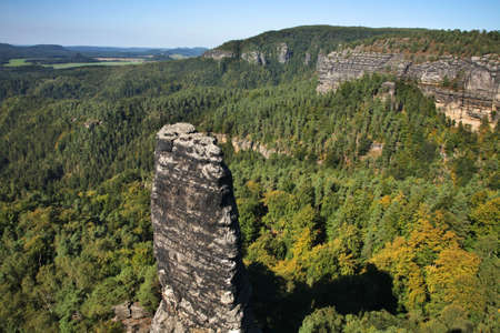 Stone finger at Bohemian Switzerland - Elbe Sandstone Mountains near Hrensko. Bohemia. Czech Republic