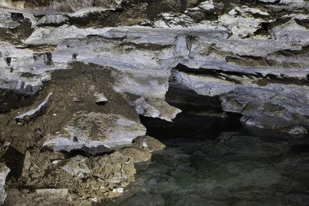 Underground lake in Kungur Ice Cave. Perm Krai. Russia