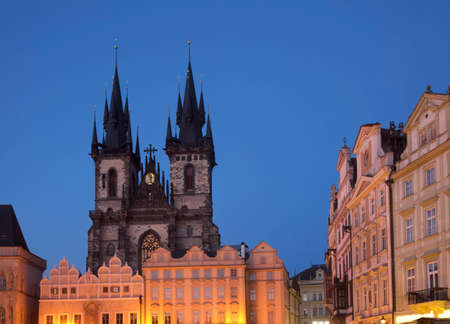 Church of Mother of God before Tyn at Old Town square in Prague. Czech Republic