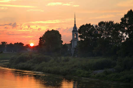 Vologda river and Sretensky church (Church of Meeting) in Vologda. Russia