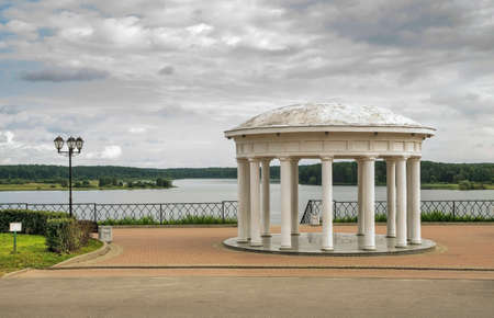 Rotunda at embankment of Volga river in Myshkin. Russia