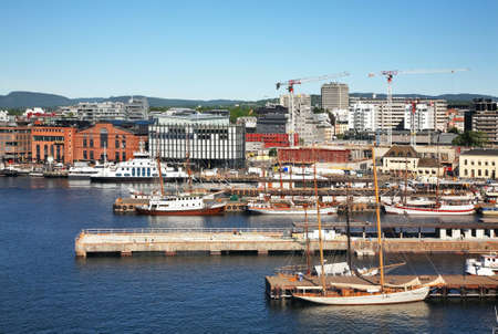 Pipervika bay and Aker Brygge district in Oslo. Norway Standard-Bild
