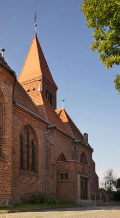 Parish church Apostles Szymon and Juda Tadeusz - Shrine of Our Lady of Pregnancy in Wabrzezno. Poland Standard-Bild