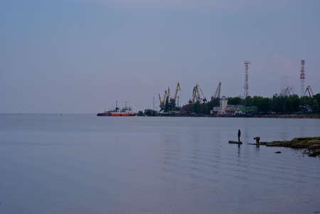 Dock in Azov sea in Taganrog photo