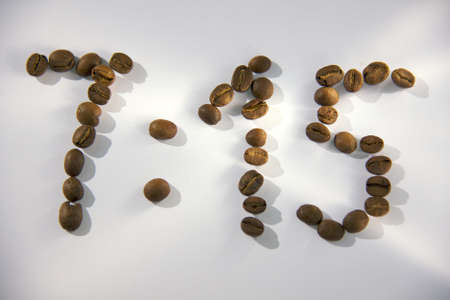 7:15 time for get up made from coffee beans photo
