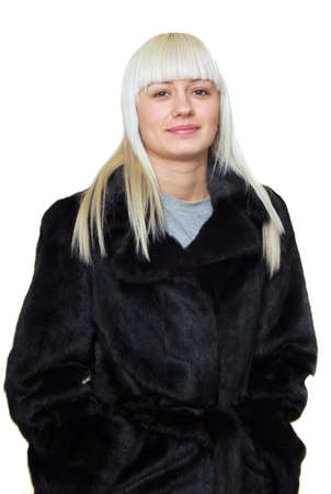 young blond woman in mink fur photo