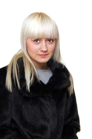 young blond woman in mink fur Stock Photo - 4519016