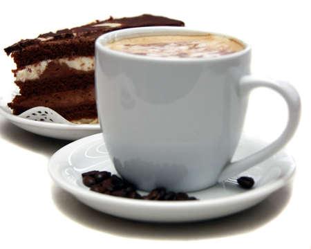 cafe y pastel: pastel de chocolate y caf�
