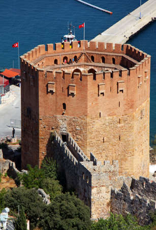 Port Alanya and red brick tower Stock Photo - 5695765