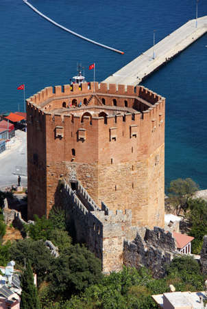Port Alanya and red brick tower Stock Photo - 5907676